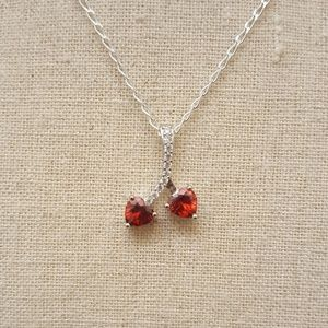 Jewelry - Sterling Silver Cherry Hearts Necklace